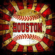 Abstract Baseball Prints - Houston Print by David G Paul