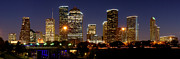 Skyline Posters - Houston Skyline at NIGHT Poster by Jon Holiday