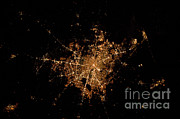 Aerial Photography Photo Framed Prints - Houston, Texas At Night Framed Print by NASA/Science Source