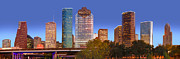 Houston Posters - Houston Texas Skyline at DUSK Poster by Jon Holiday