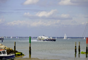 Seaside Metal Prints - Hovercraft Passing Ryde Harbour Mouth Metal Print by Rod Johnson