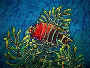 Blue Art Tapestries - Textiles Prints - Hovering - Red Banded Wrasse Print by Sue Duda
