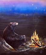 Animal Mixed Media Metal Prints - How Grandfather Bear created the Stars Metal Print by J W Baker