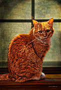 Ginger Cat Posters - How Much is That Kitty in the Window Poster by Karen Slagle