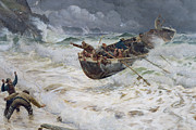 Stormy Weather Paintings - How the Boat Came Home by  Charles Napier Hemy