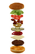 Health Food Framed Prints - How to build a hamburger Framed Print by Gert Lavsen