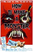 1950s Movies Framed Prints - How To Make A Monster, 1-sheet Poster Framed Print by Everett