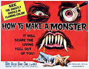 1950s Movies Framed Prints - How To Make A Monster, Half-sheet Framed Print by Everett