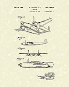 Antique Drawings Metal Prints - Howard Hughes Airplane 1944 Patent Art  Metal Print by Prior Art Design