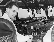 Cockpits Prints - Howard Hughes Seated In The Cockpit Twa Print by Everett