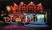 Amusement Parks Paintings - Howard Johnsons at Night by Patricia Arroyo