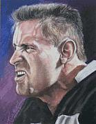 Raiders Paintings - Howie Long by Kenneth Kelsoe