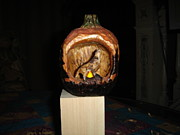 Candle Holder Mixed Media - Howling Wolf Pumpkin by Dakota Sage
