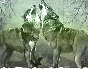 Animal Hunting Mixed Media - Howling Wolves by Yvon -aka- Yanieck  Mariani