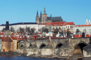 Prague Towers Photos - Hradcany - cathedral of St Vitus and Charles bridge by Michal Boubin