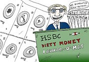 News Mixed Media - HSBC money laundering scandal cartoon by OptionsClick BlogArt