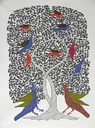 Gond Art Paintings - Hu 37 by Hiraman Urveti