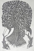 Gond Art Paintings - Hu 38 by Hiraman Urveti