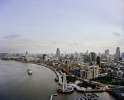 East China Prints - Huangpu River And Bund District By Day Print by Andrew Rowat