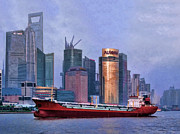 The Bund Prints - Huangpu River from The Bund Print by Helaine Cummins