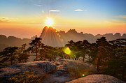 Sunset In Mountains Posters - Huangshan Mountain Range Poster by Andy Brandl