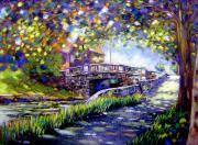 Vibrant Pastels Prints - Huband Bridge Dublin City Print by John  Nolan