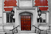Macmillan Framed Prints - Hubbard Hall Doors CBW Framed Print by Robbie Basquez