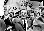 Hubert Framed Prints - Hubert Humphrey Campaigns Framed Print by Everett
