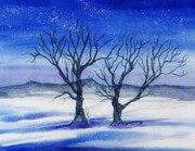 Snowscape Paintings - Huddled on a Snowy Field.  by Brenda Owen