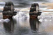 Tall Ships Digital Art Framed Prints - Hudson Bay ships Framed Print by Claude McCoy