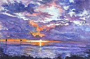 Gulf Drawings Posters - Hudson Beach Sunset Florida Poster by Carol Wisniewski