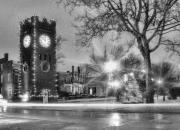 Town Clock Tower Framed Prints - Hudson Holidays in Black and White Framed Print by Kenneth Krolikowski