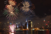 Fourth Of July Prints - Hudson River Fireworks IV Print by Clarence Holmes