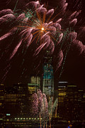 Landscapes Photo Prints - Hudson River Fireworks X Print by Clarence Holmes