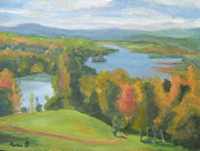 Historic Site Paintings - Hudson River NY from Olana by Robert P Hedden