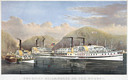 Riverboat Prints - Hudson River Steamships Print by Granger