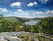 New York State Painting Originals - Hudson River View from Bear Mountan by Victor SOTO
