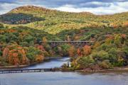 Hudson Valley Framed Prints - Hudson Valley Bridge Framed Print by June Marie Sobrito