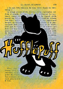 Movie Icon Drawings Posters - Hufflepuff Badger Poster by Jera Sky