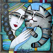 Blue Cat Posters - Hug Poster by Albena Vatcheva