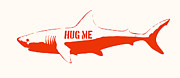 Stencil Framed Prints - Hug Me Shark Framed Print by Pixel Chimp
