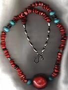 Buffalo Jewelry - Huge Coral Nugget with TQ Accents by White Buffalo
