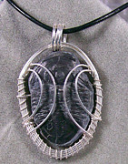 Grey Black Jewelry - HUGE Fossil Trilobite and Silver Pendant - Framed RARE Asasphiscus by Heather Jordan