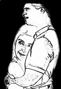Man And Woman Drawings - Hugging Couple by Deborah MacQuarrie
