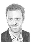 House Drawings - Hugh Laurie by Gabor Vida