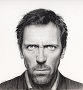 House Md Drawings - Hugh Laurie -House Portrait by Michelle Brown