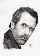 Charcoal Portrait Posters - Hugh Laurie Poster by Rosalinda Markle