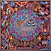 Shaman Painting Originals - Huichol Peyote Deer by Andrew Osta