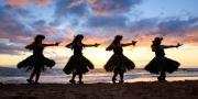 Hula At Sunset Print by David Olsen