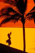 Hula Posters - Hula At Sunset Poster by Ron Dahlquist - Printscapes